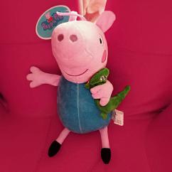 折扣包邮 社会人小猪佩奇卡通动画 一家四口30CM毛绒玩具送钥匙扣
