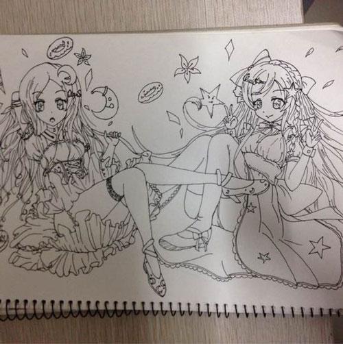 铅笔 动漫 妹妹 手绘